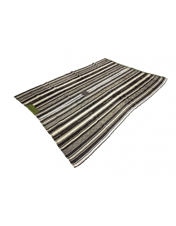Black & White Vertical Striped Vintage Kilim Rug