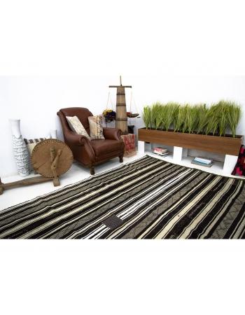 Black & White Vertical Striped Vintage Kilim Rug