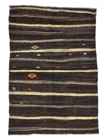 Striped Vintage Brown Kilim Rug
