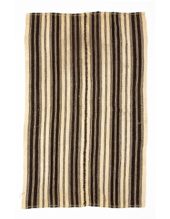 Brown Striped Vintage Wool Kilim Rug