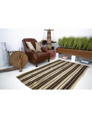 Brown Striped Vintage Wool Kilim Rug