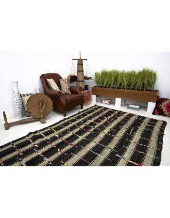 Decorative Vintage Kilim Rug With Colorful Pon Pon