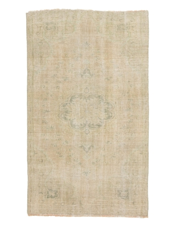 "Distressed Washed Out Vintage Turkish Carpet - 4`2"" x 7`1"""