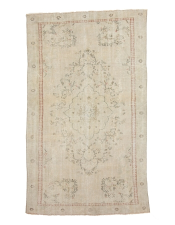 """Washed Out Vintage Faded Oushak Rug - 5`11"""" x 9`10"""""""