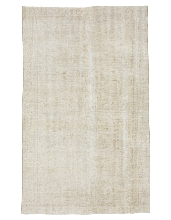 "Washed Out Vintage Faded Turkish Oushak Rug - 4`11"" x 8`0"""