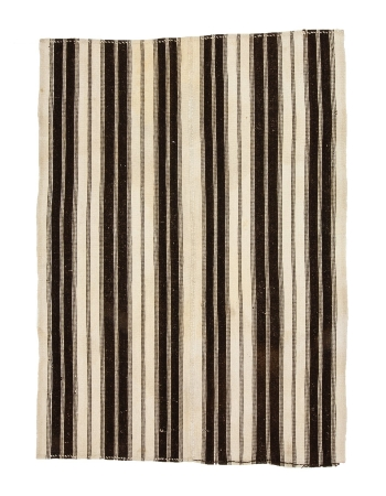 "White & Brown Vintage Striped Kilim Rug - 5`2"" x 7`1"""