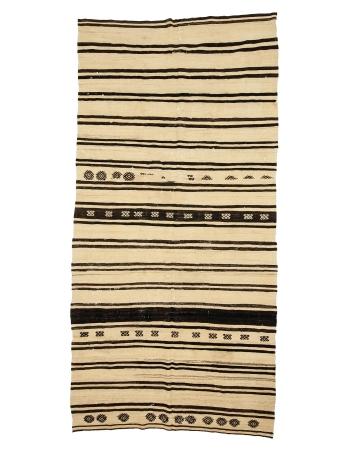 """Black Striped Vintage Natural Kilim Rug - 6`0"""" x 12`2"""""""