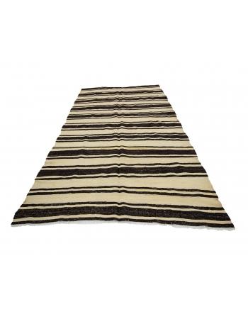 """Black & Ivory Striped Vintage Natural Kilim Rug - 5`11"""" x 11`4"""""""