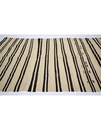 "Striped Vintage Natural Turkish Kilim Rug - 5`7"" x 11`9"""