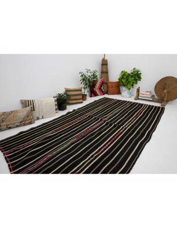 "Striped Black Vintage Kilim Rug - 4`9"" x 8`2"""