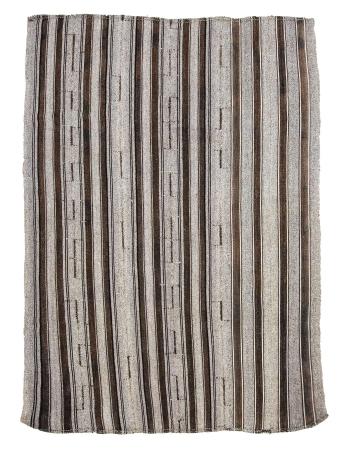 "Gray Striped Vintage Modern Kilim Rug - 7`3"" x 9`8"""