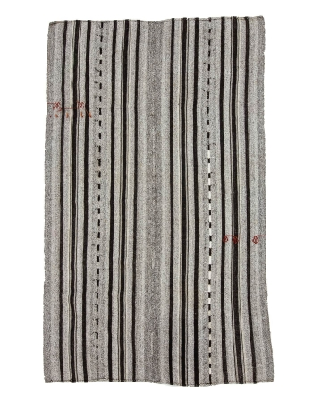 "Gray & Black Striped Vintage Kilim Rug - 5`9"" x 9`5"""