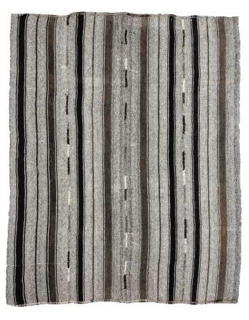 "Striped Modern Vintage Gray Kilim Rug - 7`3"" x 9`0"""