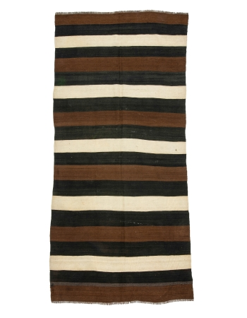 "Striped Modern Vintage Natural Kilim - 4`8"" x 10`0"""