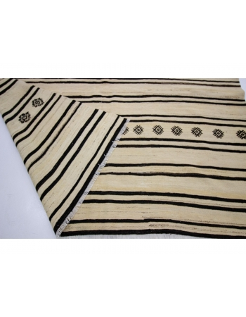 "Vintage Modern Striped Natural Kilim Rug - 6`3"" x 12`2"""