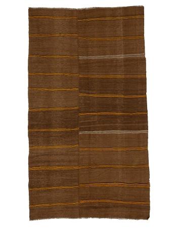 """Striped Vintage Brown Kilim Rug - 6`2"""" x 10`8"""""""