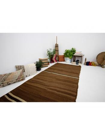 """Vintage Brown Decorative Turkish Kilim Runner - 3`8"""" x 10`10"""""""