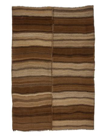 "Striped Brown Vintage Natural Kilim rug - 6`0"" x 8`4"""