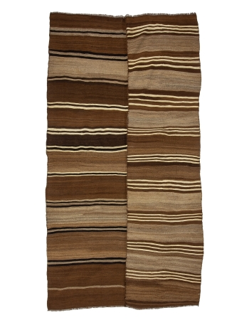 "Brown Striped Vintage Natural Turkish Kilim Rug - 5`8"" x 10`10"""