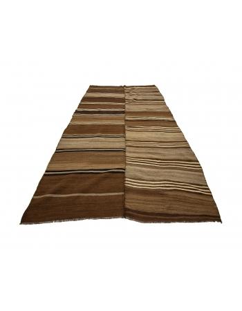 "Brown Striped Vintage Natural Turkish Kilim Rug - 5`8"" x 10`10"""