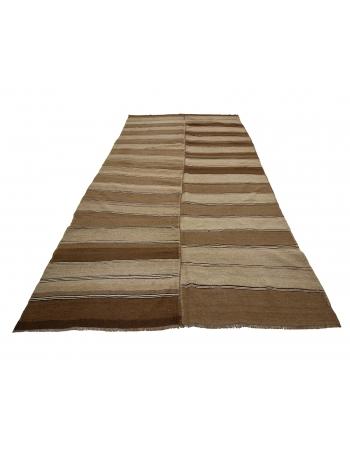 """Brown Vintage Striped Kars Wool Kilim Rug - 5`11"""" x 11`8"""""""