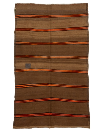 "Orange & Brown Vintage Striped Wool Kilim Rug - 5`11"" x 9`8"""
