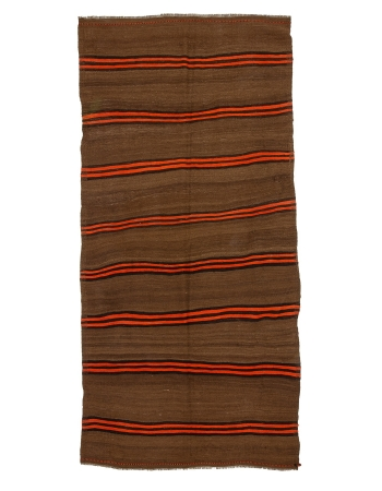 "Brown & Orange Striped Wool Vintage Kilim - 4`9"" x 10`2"""