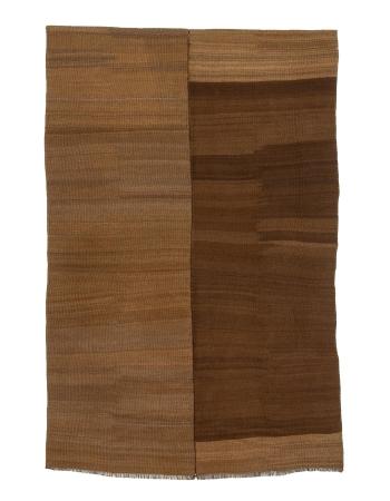 "Modern Vintage Brown Turkish Wool Kilim - 4`5"" x 7`1"""