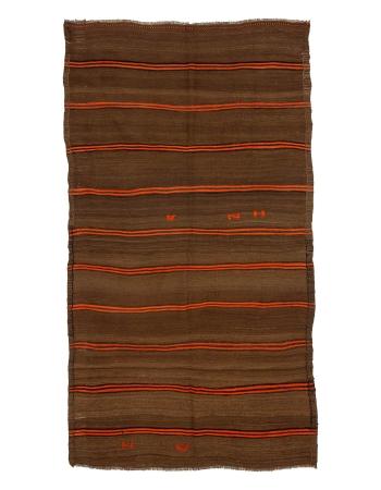 "Vintage Brown & Orange Striped Kilim Rug - 5`3"" x 9`10"""