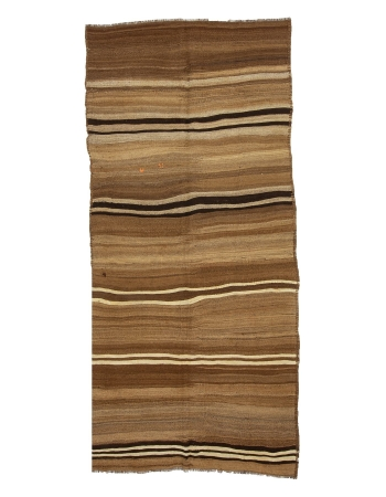 "Natural Brown Vintage Striped Kilim Rug - 4`8"" x 9`10"""