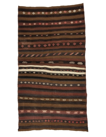 "Striped Vintage Turkish Wool Kilim Rug - 5`4"" x 9`8"""