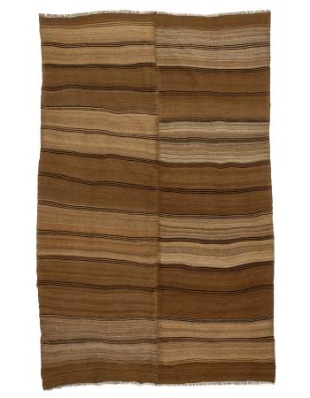 "Brown Vintage Striped Turkish Wool Kilim - 5`9"" x 9`0"""