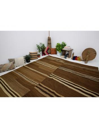 """Large Vintage Brown Wool Kilim Rug - 7`10"""" x 10`1"""""""