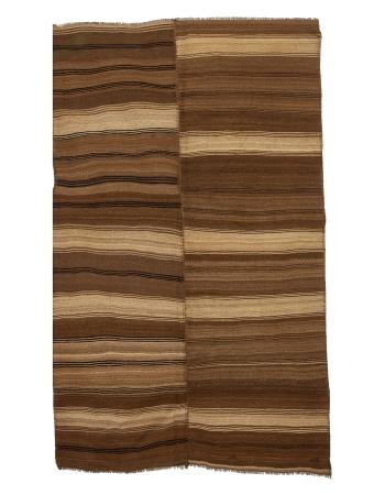 """Brown Striped Vintage Turkish Wool Kilim rug - 6`3"""" x 9`9"""""""