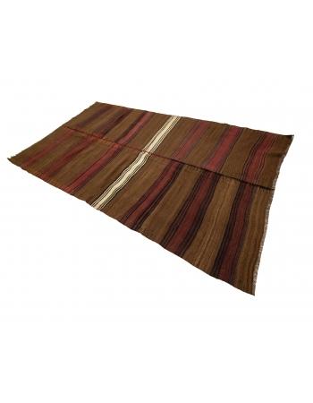 """Brown & Burgundy Vintage Wool Kilim Rug - 4`10"""" x 8`3"""""""