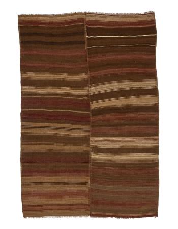 "Striped Brown & Burgundy Kilim Rug - 6`3"" x 9`6"""