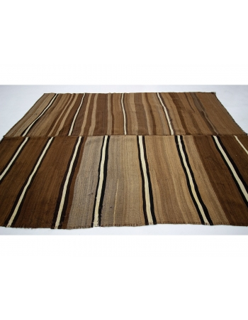 "Striped Vintage Brown Turkish Wool Kilim Rug - 7`1"" x 10`4"""
