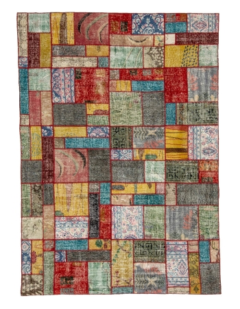 "Vintage Colorful Patchwork Rug - 5`9"" x 7`11"""