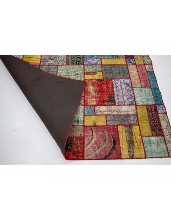 "Vintage Colorful Patchwork Rug - 5`9"" x 7`11"""