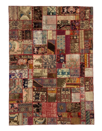 "Colorful Vintage Turkish Patchwork Rug - 5`9"" x 8`0"""