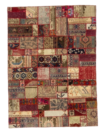 "Colorful Decorative Vintage Patchwork Rug - 4`9"" x 6`4"""