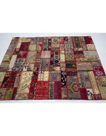 "Colorful Decorative Vintage Patchwork Rug - 4`9"" x 6`4"""