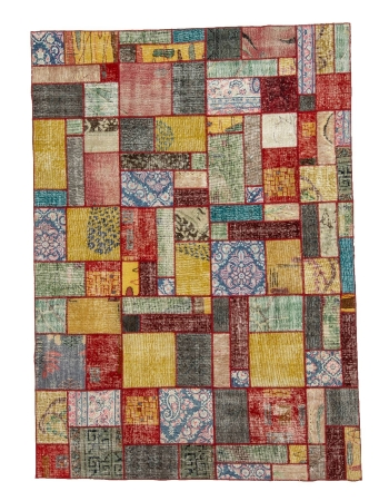 "Decorative Colorful Vintage Patchwork Rug - 5`10"" x 8`1"""