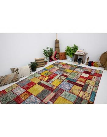 "Decorative Colorful Vintage Patchwork Rug - 5`10"" x 8`1"""