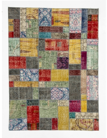 "Colorful Decorative Vintage Turkish Patchwork Rug - 4`10"" x 6`7"""