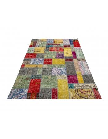 "Colorful Decorative Vintage Turkish Patchwork Rug - 4`10"" x 6`7"""