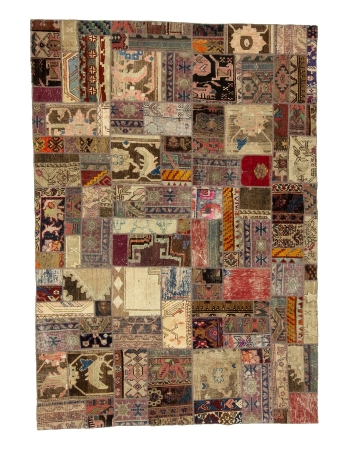 "Decorative Vintage Turkish Patchwork Rug - 5`7"" x 8`0"""
