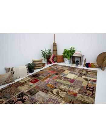 "Decorative Vintage Turkish Patchwork Rug - 5`7"" x 8`0"""
