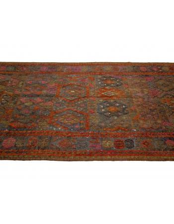 "Vintage Handwoven Orange Kilim Rug - 4`7"" x 15`3"""