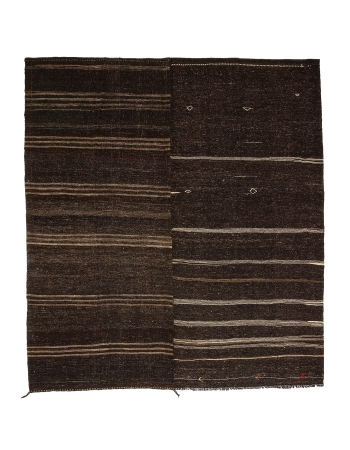 "Large Vintage Brown Kilim Rug - 11`4"" x 12`10"""